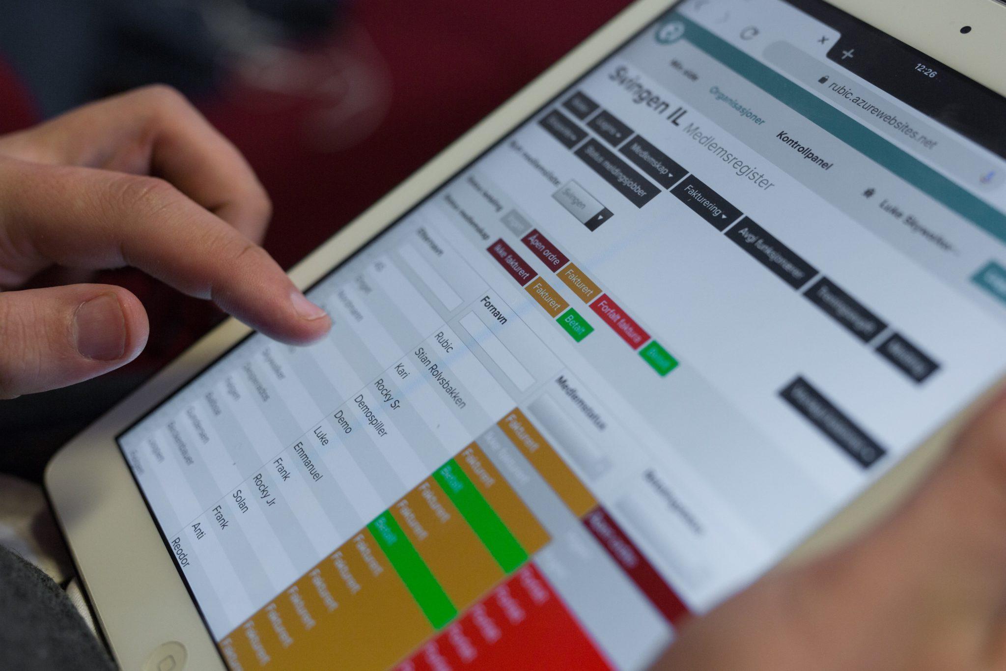 Rubics medlemssystem på iPad